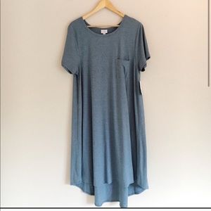 LuLaRoe Carly Dress in Solid Heathered Blue